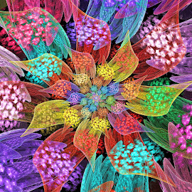 Crackled Flower by Peggi Wolfe - Illustration Abstract & Patterns ( décor, abstract, gift, unique, pattern, bright, color, illustration, unusual, fun, fractal, digital, print )