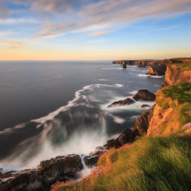 Kilkee Cliffs by Ryszard Lomnicki - Landscapes Cloud Formations ( ireland, seashore, seastack, dublin, kilkee cliffs, galway, seascape, kilkee, lee, clifs of moher, sunset, clare, long exposure, hitech, lonexposure, sunrise )