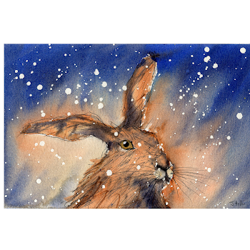Hare print christmas rabbit art from a watercolor painting
