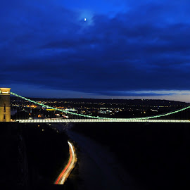 Clifton Lights by DJ Cockburn - Buildings & Architecture Bridges & Suspended Structures ( civil engineering, moon, river avon, twilight, clifton down, architecture, road, clifton, motion blur, lights, england, somerset, tree, sunset, avon gorge, b3129, clifton suspension bridge, victorian, night, a4, bristol, hotwell road, golden hour )