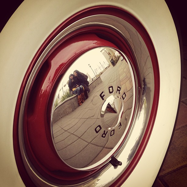 My girls waiting for me while taking pictures of thiscar by Cesar Palima - Instagram & Mobile iPhone ( cool, vintage )