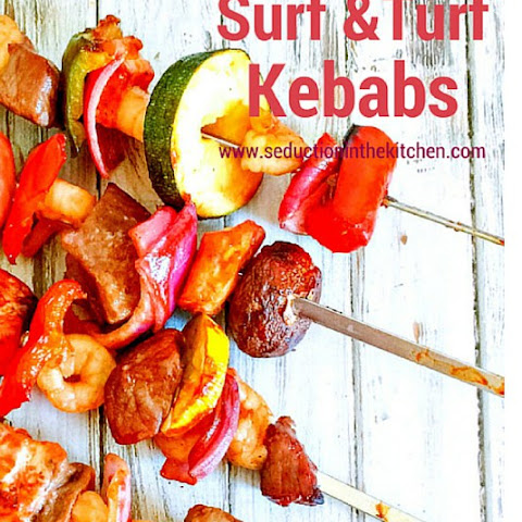 Bourbon Glazed Surf and Turf Kebabs