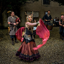 Medieval dance  by Dragan Rakocevic - People Musicians & Entertainers