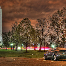 The Monument and the Dodge by Elk Baiter - City,  Street & Park  Night ( clouds, lights, washington, night, dodge, monument, capital )