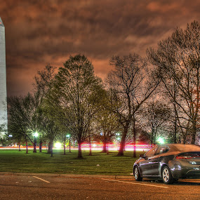 The Monument and the Dodge by Elk Baiter - City,  Street & Park  Night ( clouds, lights, washington, night, dodge, monument, capital,  )