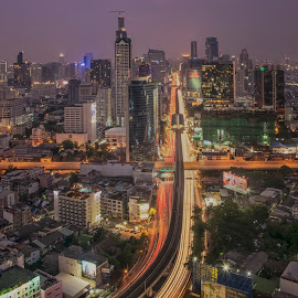Life line of Bangkok by Waraphorn Aphai - Landscapes Travel ( bangkok, night photography, thailand, long exposure, life line, nightlife )