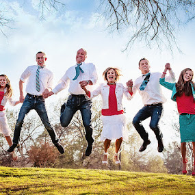 Fun Family Jump by Michiyo Clark - People Family ( highland village, family photographer, dfw photographer, grapevine botanical garden )