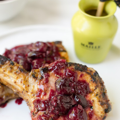 Honey Mustard Grilled Pork Chops with Cherry Sauce