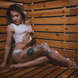 Passion and Heat by Bryan Maes - People Portraits of Women ( rip, fit, model, underwear, dreads, calvins, tattoo, shirt, ripped )