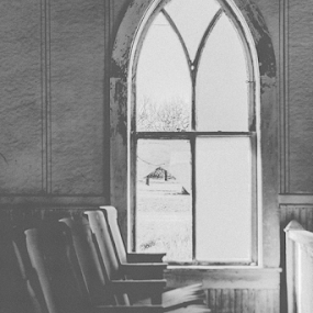 Abandoned Window by Stephanie Barrans - Black & White Buildings & Architecture ( old, window, black and white, architecture, abandoned )