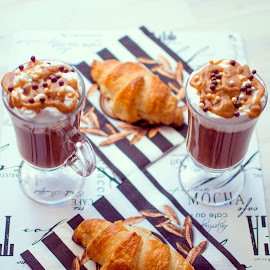 Croissant & salted caramel latte by Dragos Pop - Food & Drink Cooking & Baking ( tasty, food, latte, dessert, caramel, croissant )