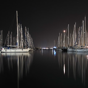Mirrored Peace by Marc-Antoine Kikano - Landscapes Travel ( water, reflection, sailing, peace, dark, sea, night, sailboat )