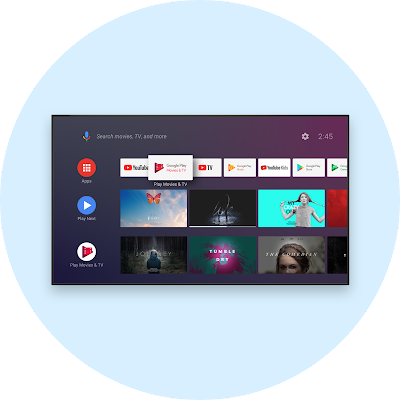 Android-powered TV screen showing movies and TV shows