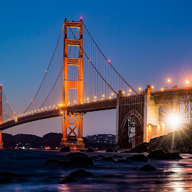 Marshall Beach by Curt Lerner - Buildings & Architecture Bridges & Suspended Structures ( golden gate bridge, night photography, sunsets, california, fisherman's wharf, pacific, alcatraz, bridge, san francisco )