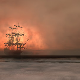 Out of the mist by Per Christiansen - Illustration Places ( clouds, water, ship, sea, sun, mist )