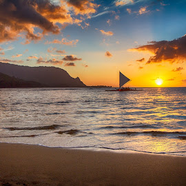Hanalei Beach by Brandon Beadel - Landscapes Beaches ( water, sand, kauai, mountains, hanalei, sunset, north shore, ocean, sail, beach, boat, sailboat, hawaii )