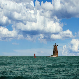 Whaleback Lighthouse II by Alex  Wolf - Buildings & Architecture Public & Historical ( clouds, water, alex wolf, warm, new england, whaleback ocean, wolfproduction.us, lighthouse, reflections )