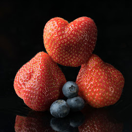 Three and Three by Jim Downey - Food & Drink Fruits & Vegetables ( strawberries, blueberries, light, reflect, black )