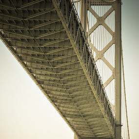 Under the Bay Bridge by Kevin Pastores - Novices Only Objects & Still Life ( san francisco, massive, strong, bay area, steele, suspension, bridge, large )