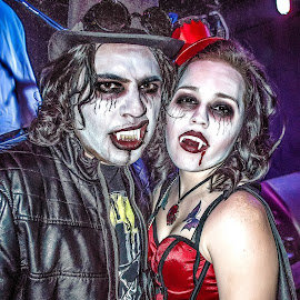 Mr & Mrs. Dracula by Dazz Lee Briggs - People Body Art/Tattoos ( tatto, fashion, vampires, undead, male, body art, fangs, male and female, public holiday, people, costume play, couples, halloween, hats, make up, vampire, female, costume, couple, leather,  )
