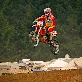Nine Eleven Emerging! by Marco Bertamé - Sports & Fitness Motorsports ( red, bike, motocross, clumps, motorcycle, race, competition, jump )