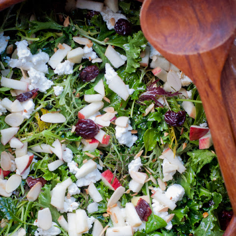 Kale, Cherry And Goat Cheese Salad With Apples And Toasted Almonds