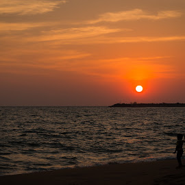 at beach with my dad by Azad Nechikkade - Landscapes Sunsets & Sunrises ( kollam, nature, sunset, india, kerala, beach, evening, kkollam )