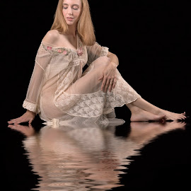 Reflection by Tracey Pogson - People Portraits of Women ( water, model, reflection, female, woman, boudoir, nightie )