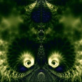 Peekaboo by Nancy Bowen - Illustration Abstract & Patterns ( black background, spirals, abstract art, green, white )