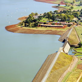 Aerial shot of a dry Midmar Dam by Ingrid Anderson-Riley - Landscapes Travel