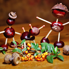 Chestnut family by Nicu Buculei - Artistic Objects Still Life ( chestnut, still life, toys, handmade )