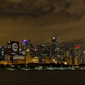 Chicago #FlytheW Flag by Mark Synowiec - City,  Street & Park  Skylines ( skyline, willis tower, fly the w, illinois, lake michigan, baseball, night, cubs, sears tower, world series 2016, chicago, cubbies )