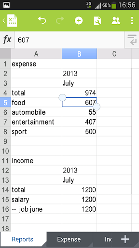 Money Manager in Excel - screenshot