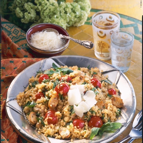 Mushroom, Tomato and Arugula Bulgur Wheat Risotto