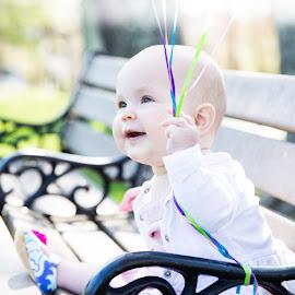 Child on bench with balloons  by Rachel Ellis - Babies & Children Children Candids ( baby, portrait shoot )