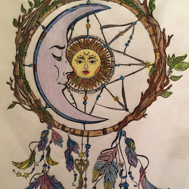 The Dreamcatcher.... by Melanie Goins - Drawing All Drawing ( pastels, dreamcatcher, art, colored pencils, glitter pens )