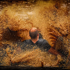Waterbomb by Marco Bertamé - Sports & Fitness Other Sports ( water, differdange, splash, splatter, 2015, waterdrops, luxembourg, mud, sliding, strong, dirty, waterbomb, drops, strongmanrun, man,  )