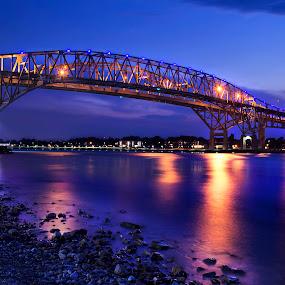 The Bluewater Bridges by Julie Quesnel - Buildings & Architecture Bridges & Suspended Structures ( shore, twin, blue, travel, bridge, road, Water )