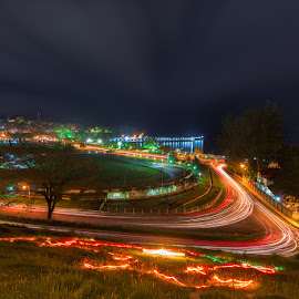 Car-Light-Trails at Portblair by Manabendra Dey - City,  Street & Park  City Parks ( marina park, port blair, long exposure, nightscape )