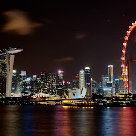 A fairground city by Kyle Durant - City,  Street & Park  Night ( buildings, singapore flyer, night, cityscape, singapore, city )