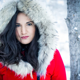 Snow Angel by Steve Osmond - People Portraits of Women ( winter, woman, snow, fur, brunette, eyes )