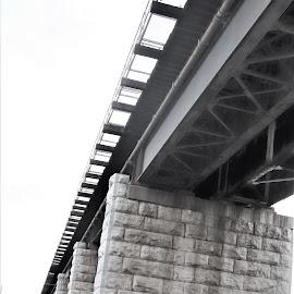 Train Trestle by Linda    L Tatler - Black & White Buildings & Architecture