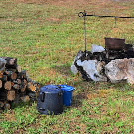 Campsite cooking by Priscilla Renda McDaniel - Artistic Objects Cups, Plates & Utensils ( wood stacked, campsite, cooking, utensils, pots, cast iron, fire pit )