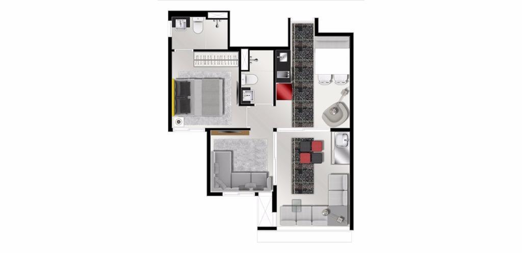 Planta Opção 46 m²