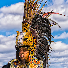 Cultural Fair - Aztec Dancer  by Kenneth Everett - City,  Street & Park  Street Scenes ( park, mexico, headdress, demonstration, central, fair, culture, dancer, centennial park, aztec )