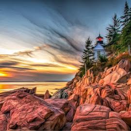 Bass Harbor Redux by Chris Cavallo - Digital Art Places ( east coast, shore, bass harbor, atlantic ocean, maine, digital manipulation, digital art, lighthouse, rocks,  )