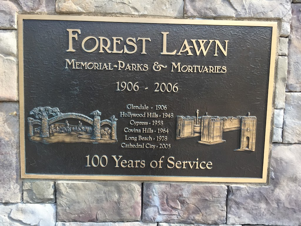 This plaque is at the top of the hill adjacent to the museum.   Forest Lawn Memorial Parks & Mortuaries 1906-2006 Glendale - 1906 Hollywood Hills - 1948 Cypress - 1958 Covina Hills - 1964 Long Beach ...