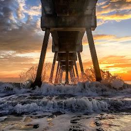 Sky/Ocean by Etta Cox - Instagram & Mobile iPhone ( ocean beach pier waves sunrise colorful )