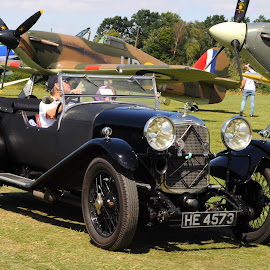 Black Lagonda by DJ Cockburn - Transportation Other ( he 4573, shuttleworth collection, g-ahkx, england, 605 squadron, royal air force, lagonda speed tourer, airfield, avro anson, avro 19, hawker hurricane 1, vintage, aeroplane, airplane, open top, biggleswade, museum, r4118, old warden, aircraft, bedfordshire, air display, raf, antique, britain, air show )