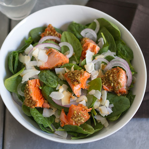 Spinach Salad With Spiced-Walnut Salmon And Cilantro-Mint Dressing